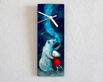 Star Bear Clock - bear wall clock, children's decor, kids decor,  baby girl room, unusual wall art  -  by Meluseena
