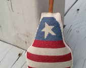 Americana Flag Sampler Cross Stitch Pear with Cinnamon Stick Stem Ready to Ship