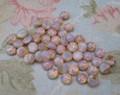 Czech 6mm Opal Harlequin Unfoiled Round Flat Back Glass Cabs (12 pieces)