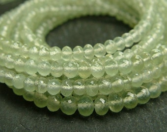 """Prehnite Rondelles, AAA, Faceted, 4mm - 8"""" Strand (ET488a)"""