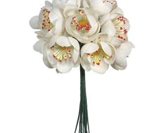 Vintage Millinery Flowers Japan 12 Fabric Apple Blossoms Flowers  VF 074