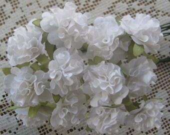 12 Ruffled Pom Pom Paper Millinery Flowers In White