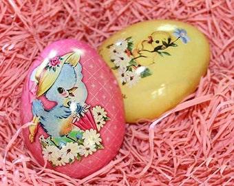 England Metal Easter Egg Box Pink Chick 2 3/4 Inch Nostalgic Craft Storage  TEG 23