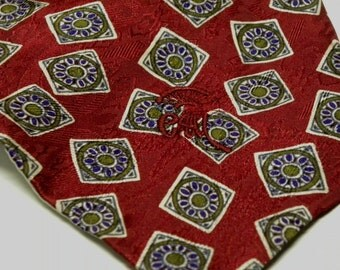 Vintage COUNTESS MARA Necktie for Lord and Taylor New York Empire Floral Geometric Jacquard Silk Tie Necktie RED Green Purple 084