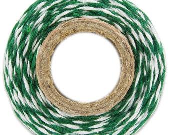 Classic Dark Green Bakers Twine - 100 yards of dark green and white stripe twine
