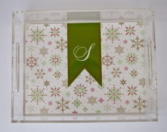 Personalized Lucite Tray 11x17 Red Green Snow Flurries Winter Holiday Tray