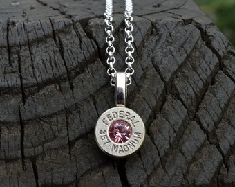 Bullet necklace,  Hornady .380 auto with light rose Swarovski crystals