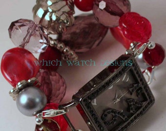 War of the Roses...Stunning Red and Gray Interchangeable Beaded Watch Band
