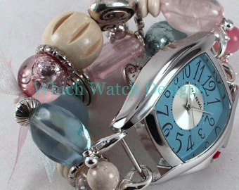 Shabby Chic Pink n Blue.. Pink, Blue and Cream Interchangeable Beaded Watch Band