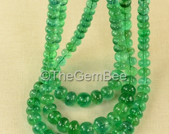 "5.8mm-11.3mm Huge Zambian EMERALD Smooth Rondelle Beads 60"" Strand"