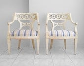 1950's pair of  french neoclassical loop back arm chairs