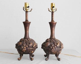 20% SALE 2 vintage cast bronze pedestal fruit bowl lamps