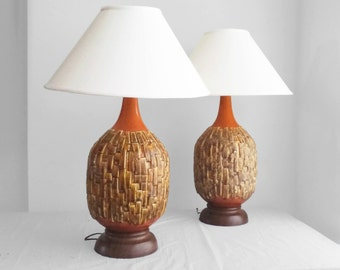 2 mid century modern large scale BRUTALIST style ceramic lamps