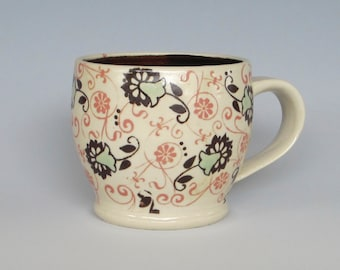 Handmade Cup Stoneware Flowers And Vines