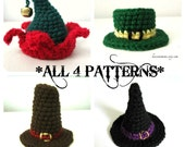 Holiday Hat Patterns - Set of 4 - Tiny Fascinator or Holiday Ornaments - Instant Downloads by lostsentiments