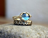Set Of Three Stacking Rings Rose Cut Oval London Blue Topaz Stone Scalloped Bezel Antique Floral Patterned