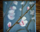 Cherry Blossoms original painting, acrylic, impressionist 4x4