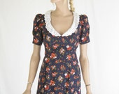 Vintage 70s Boho/ Cotton  Prairie  Maxi Dress. Small