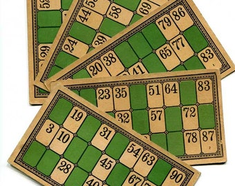 5 Antique 1920 Vintage Lotto Game Cards for Scrapbooks, Journal, Creative Use, Supplies, Paper Goods, Green Black Tan