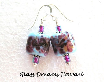 Lampwork Glass Dangle Earrings, Handmade Lampwork Glass Dangle Earrings, Fashion Earrings, Lampwork Jewelry, Beach Earrings, BOHO Jewelry