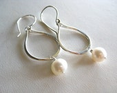 Gold Filled or Sterling Silver Dangle Hoop Earrings with Freshwater Pearls
