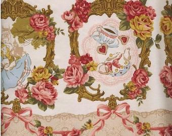 One Yard Japanese Cotton Fabric Lolita Tokyo It Girl Wonderland Alice Tea Border Flowers Ribbon Cream