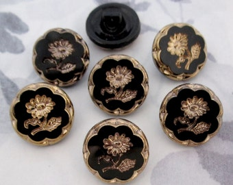 7 pcs. vintage glass gold plated intaglio flower shank buttons 18mm - b135