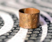 WORD Ring, Copper, Unisex, Adjustable, Handmade, Reclaimed Metal, Ecofriendly Jewelry, Hand Stamped w Custom Word, Personalized Just for You