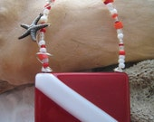 SCUBA Dive Flag ORNAMENT with star fish charm ~ Fused Glass