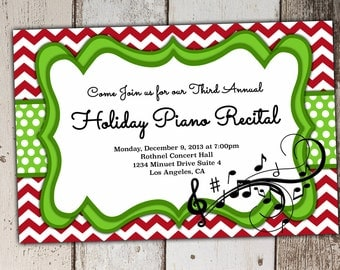 Christmas or Holiday Piano Recital Invitation - can be other instuments as well - print yourself JPG