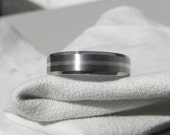 Beveled Edge Titanium Sterling Silver Inlay Ring