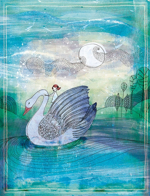 Pale Swan Ride  Illustration Wall Art Print kids decor watercolour illustration