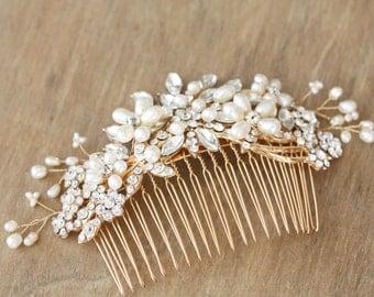 Freshwater pearl and rhinestone Gold Hair Comb, Fascinator