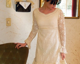 COUPON SALE-Baby Doll-Vintage 1960s/70s Emma Domb Sweet Boho Chic Ivory Lace Dress-wedding-reception-prom-party