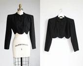 1940s black wool cropped jacket scallop hem / xs - s