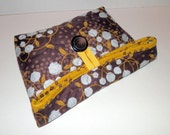 Foldover Bag/ Quilted/ Brown White and Gold