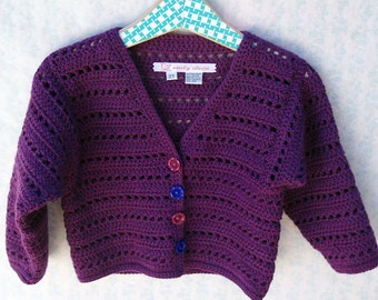 Toddler Girl Sweater - Classic Lupin Purple Crochet Cardigan With Vintage Flower Buttons- Size 2T - 3T (CARD107)