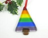 Rainbow Fused Glass Christmas Tree Ornament