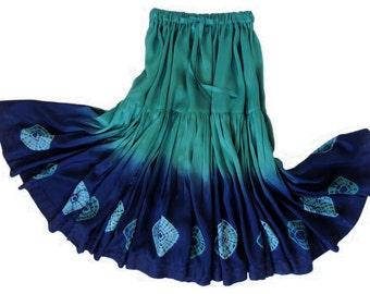 Silk Shibori Skirt, Handmade and Dyed