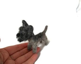 Custom Cairn terrier art - needle felted dog sculpture. - personalized terrier sculpture west - Cairn terrier dog sculpture - small size