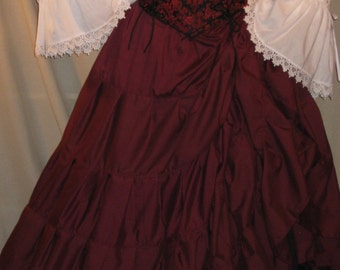 DDNJ Choose Fabrics Reversible Corset Style Bodice Chemise Skirts 3pc Plus Custom Made  ANY Size Renaissance Pirate Anime Wench Costume