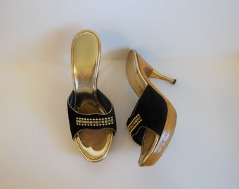 60s shoes / Jeweled Jezebel Vintage 1960's Platform Wood High Heels Mules