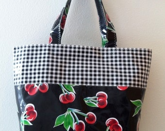 Beth's Grocery Style Cherry and Gingham Oilcloth Market Tote Bag