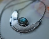 Feathered Nest Necklace. Labradorite. Sculpted feather impression. Sterling and fine silvers.