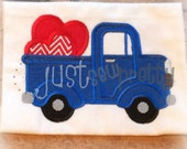 Valentine Truck with Hearts Embroidery Applique Design
