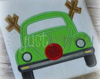 Reindeer Beetle Bug Car Wreath Embroidery Applique Design