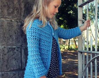 Download Now - CROCHET PATTERN Romantic Girl's Cardigan - Sizes 1-8 Years - PDF