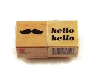Mini  Rubber Stamp Set  -  Mustache / Hello