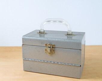 Vintage Film Reel Storage Box • Mid Century Grey Metal Box • Vintage Industrial Storage Box