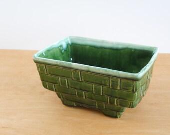 Vintage Drip Glaze Basket Weave Planter • Large Mid Century USA Planter